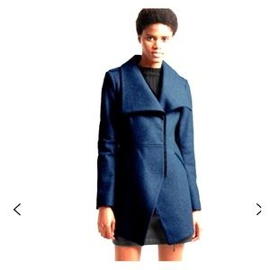 Brand New Asymmetric Hem Coat in Utility Blue